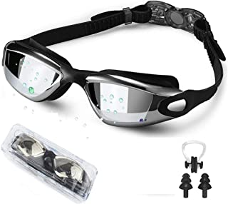 EXP VISION Swim Goggles, Wide View Swimming Goggles No Leaking Anti Fog Swim Goggles UV Protection Triathlon Water Goggles for Adult Men Women Youth, Summer Swim Glasses Set with Nose Clip Ear Plugs