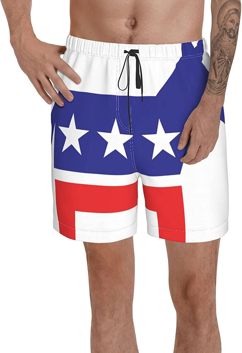 Count Democratic Party Flag Men's 3D Printed Funny Summer Quick Dry Swim Short Board Shorts with
