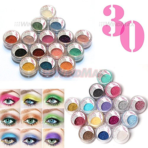 Brand New 30 Pcs Mulit Color Cold Smoked Warmer Glitter Shimmer Pearl Loose Eyeshadow Pigments Mineral Eye Shadow Dust Powder Makeup Party Cosmetic Kit #CE