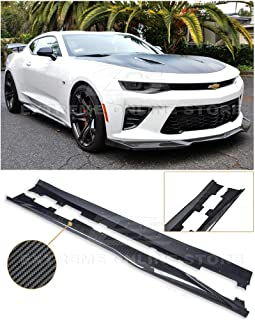 Replacement For 2016-2018 Chevrolet Camaro SS & RS   ZL1 Style Side Skirts Rocker Panel Extension Pair (Carbon Fiber)