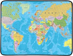 GIRLOS Colored World Map Borders Countries Cities Portable and Foldable Blanket Mat 60x78 Inch Handy Mat for Camping Picnic Beach Indoor Outdoor Travel
