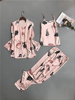 09c70f478c1 MDHDSY 3 Piezas Pijama Conjunto Estampado Ropa de Noche Traje de Casa  Lencería de Mujer Bata