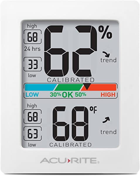 AcuRite 01083 Indoor Thermometer Hygrometer With Humidity Gauge Pro Accuracy Calibration White