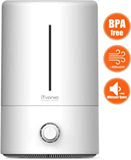 iTvanila Humidifiers, Cool Mist Humidifier (BPA Free), Ultrasonic Baby Room Humidifier for All Night Moisturizing, 15-40 Hours Ultra Quiet Operation and 2nd Gen Waterless Auto Off Protection (Grey)