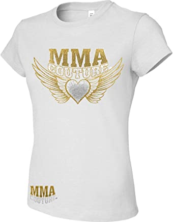 38570c3c MMA Couture Shorts Sleeve Womens Girls New T Shirt MMA UFC Muay Thai White  Sliver Gold