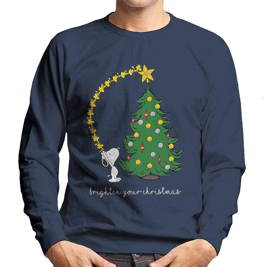 Peanuts Snoopy Woodstock Brighten Your Christmas Men's Sweatshirt