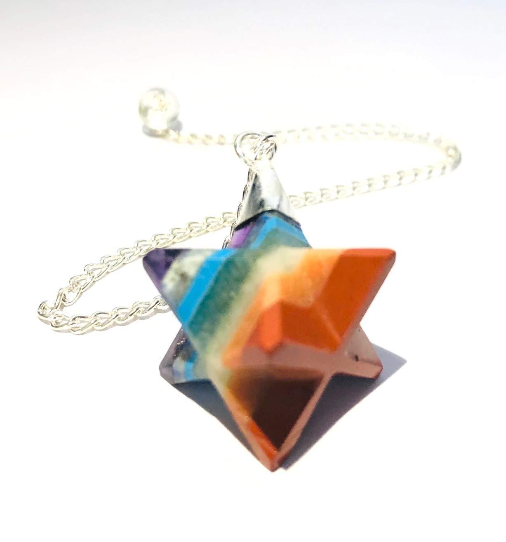 crystalmiracle Chakra Merkaba Star Pendulum Crystal Healing Gemstone fashion jewelry gift Spiritual Peace Meditation wellness Handcrafted Accessory