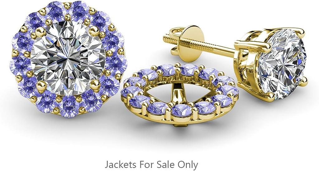 TriJewels Tanzanite Halo Jacket for Stud Earrings 0.73 cttw in 14K Yellow Gold