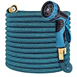 Toolasin Expandable Garden Hose 100ft with 10 Function Spray Nozzle, Leakproof Flexible Water Hose Design with Solid Brass Connectors, Retractable Hose Expands 3 Times, Easy Storage and Usage