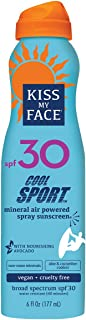 Kiss My Face Cool Sport Mineral Continuous Spray Sunscreen SPF 30 Sunblock, 6 oz