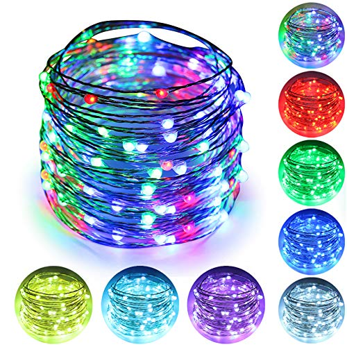 ErChen 64 Modes 7 Colors + Multicolor LED String Lights, Plug in RF Remote 49 FT 150 LED Upgraded RGB LEDs Color Changing Silver Copper Wire Fairy Lights with Timer for Indoor Outdoor Christmas