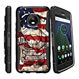 MINITURTLE Compatible with Motorola Moto G5 Plus   Moto G Plus (5th Gen)(XT1687) Holster and Diamond Shape Stand Case - American Flag NY