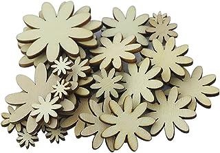 50pcs Mini Breloque Fleur en Bois Taille Mixte pour DIY Artisanal 10/20/25/35mm Couleur Naturelle