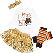Baby Girl My First Thanksgiving Outfit Newborn Letter Print Romper Turkey Print Pant with Gold Tutu Dress Sets