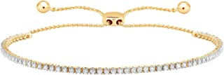 CARATS FOR YOU 10K Solid Gold 1ct Genuine Real Round Cut Natural Diamond Tennis Bolo Adjustable 9 inch Chain Bracelet For Women