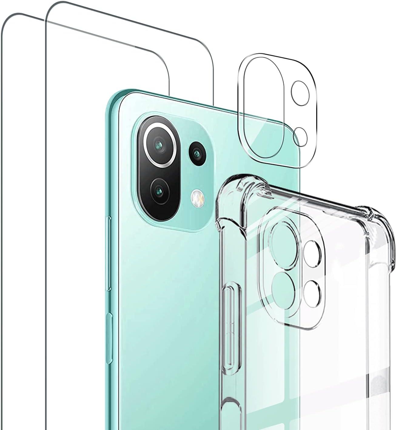 Vauki Funda Xiaomi Mi 11 Lite 4G/5G con 2 Pack 9H Cristal Templado y 1 Vidrio HD Cámara Protector de Pantalla, Transparente Silicona 360 Grados Protector Carcasa con Air Cushion Antigolpes 6.55