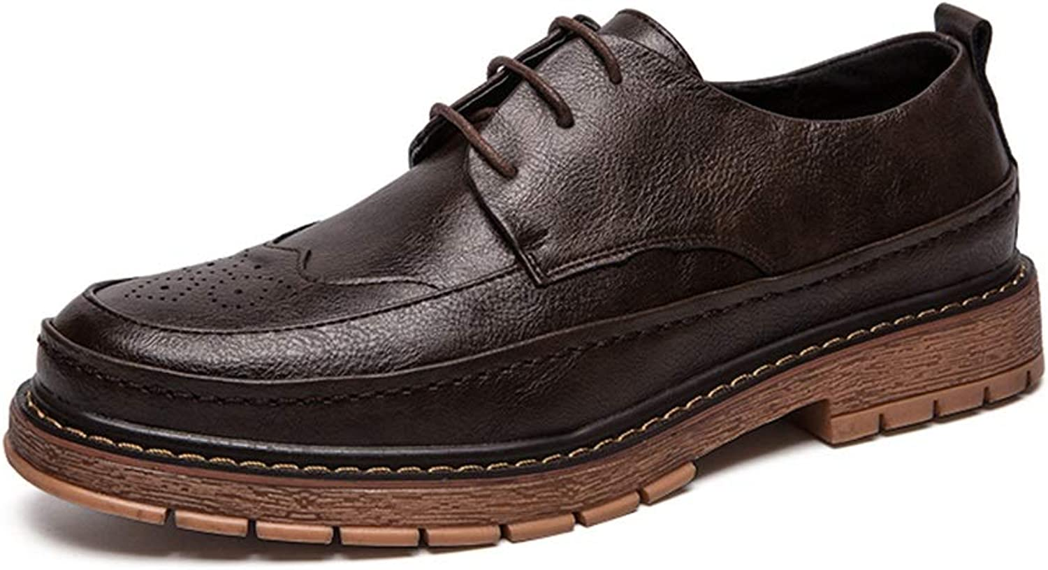 Easy Go Shopping Casual Oxford for Men Fashion Loafers Lace Up Comfortable Slip On Flats shoes PU Leather Upper Round Toe Abrasion Resistant Cricket shoes (color   Brown, Size   8 UK)