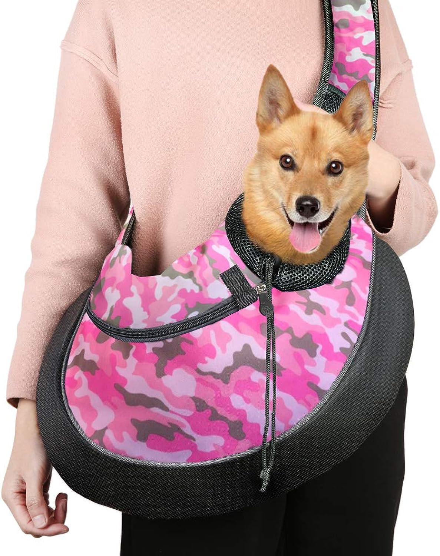 Pet Sling Carrier Bag, HandFree Dog Cat Outdoor Travel Shoulder Bag with Adjustable Strap& Zipper (L, Pink Camouflage)