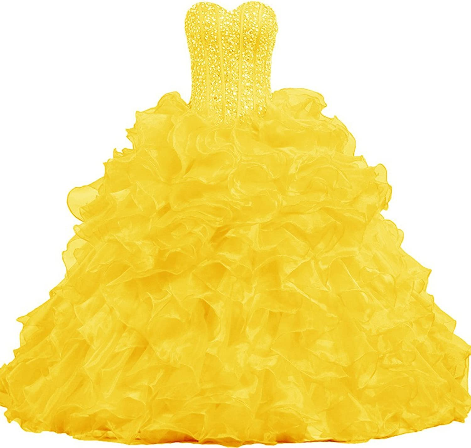 APXPF Women's Strapless Gorgeous Quinceanera Dresses Ruffle Prom Dress Ball Gown