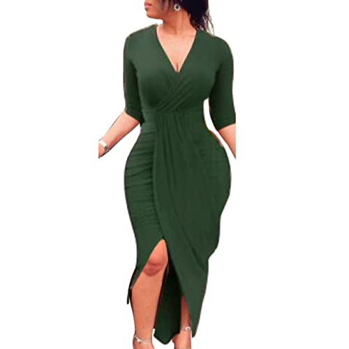 Misschicy Womens Long Sleeve V Neck High Low Ruched Bodycon Midi Casual  Party Wrap Dresses e59a50ca7