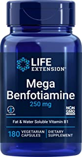 Life Extension Mega Benfotiamine, 250 mg, 180 Veg caps with Thiamine - Vitamin B1 Supplement