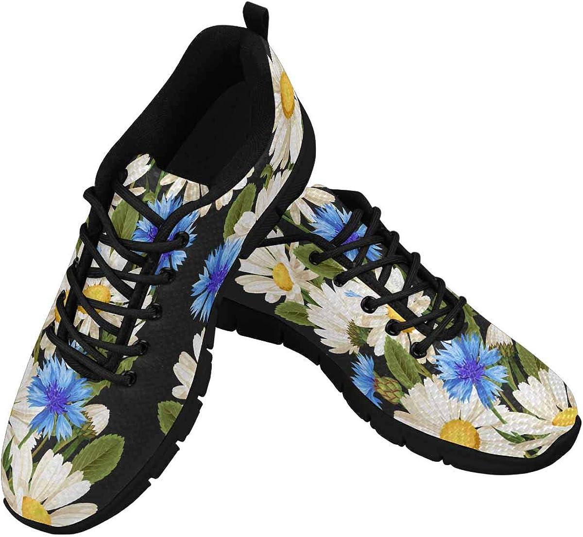 INTERESTPRINT Meadow Flowers Lightweight Mesh Breathable Sneakers for Women
