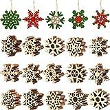 Blulu 100 Piezas Copo de Nieve de Madera de Navidad Adornos de Copos de Nieve Ahuecados Adornos Colgantes de �rboles de Navidad con Cuerda para Arte Decoración de Navidad