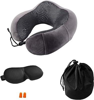 eoocvt Travel Pillow Pure Memory Foam Neck Pillow Stops The Head from Falling Forward Sleep Mask Earplugs for Airplane Car Home (Dark Grey)