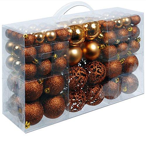 Christmas Gifts Weihnachtskugeln Unzerbrechlich - Weihnachtsgeschenke - für Drinnen und Draußen - Plastik - 100 Stück - Braun Kupfer