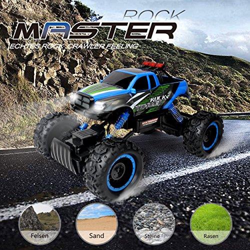 RC Auto kaufen Monstertruck Bild 2: Maximum RC Ferngesteuertes Auto für Kinder - 4WD Monstertruck - XL RC Auto für Kinder ab 8 Jahren - Rock Crawler (blau)*