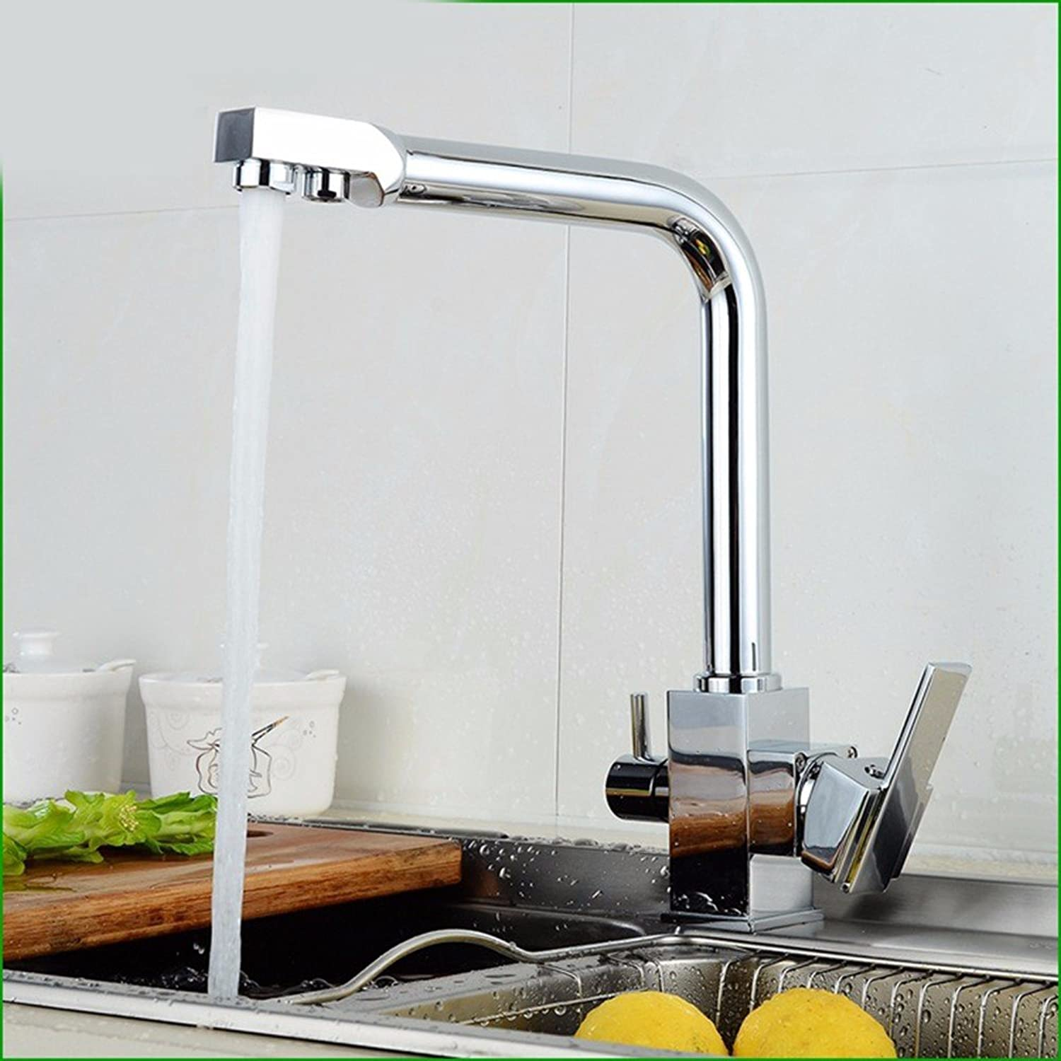 SJQKA-All copper kitchen faucet, three use kitchen faucet, pure faucet, hot and cold straight drink faucet
