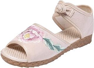 Top Homie レディース かわいい 厚底 古風 花柄 インヒール サンダル おしゃれ 女性 女の子 履きやすい 歩きやすい 美脚 オープントゥ 中国風 靴