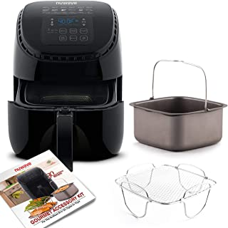 NUWAVE BRIO 3-Quart Digital Air Fryer cooking package with one-touch digital controls, 6 easy presets, precise temperature control, recipe book, wattage control, and advanced functions like PREHEAT, REHEAT and more, also includes non-stick baking pan and stainless-steel cooking rack (3-Quart + Gourmet Kit)