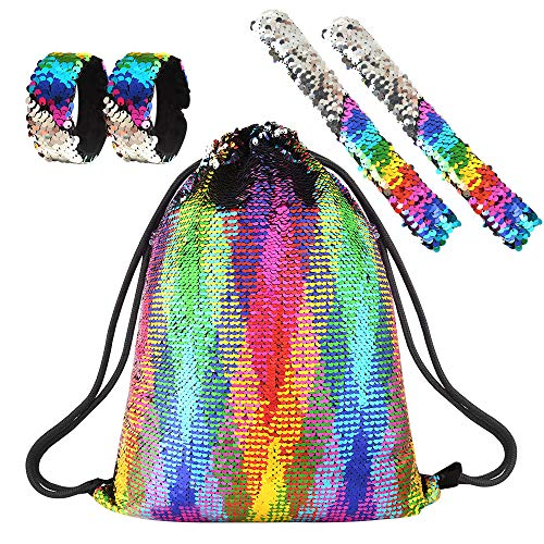 FEPITO Magic Sequin Mermaid Drawstring Bag with Slap Bracelets Glitter Backpack Fashion Sports Bag Light Weight Schoolbag for Girls Birthday Present Rainbow Color 5 PCS
