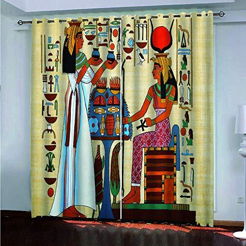 BZCBX Cortinas Antiguo Egipto 3D Ojetes Cortina, Evitar Rayos UV la Luz Proteccion Privacidad Cortina para Salon Cocina Habitacion,2 Piezas 110(W) x215(H) cm