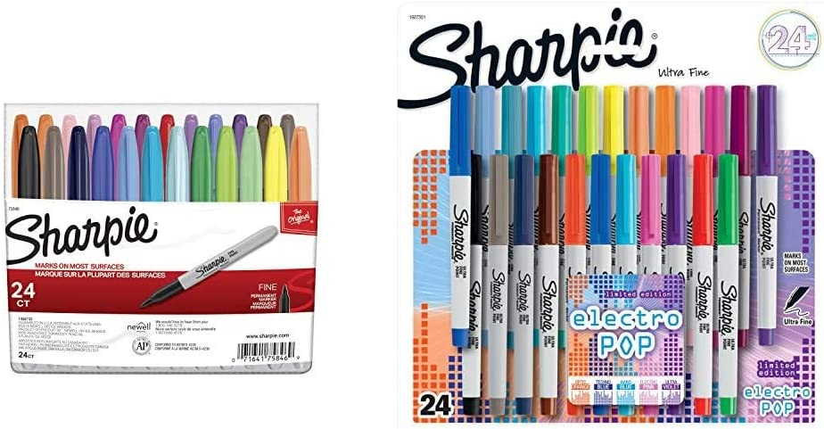 Fine Point 1 24-Count Sharpie 75846 Permanent Markers Assorted Colors