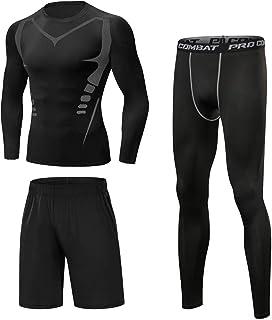 Sykooria Herren Sportbekleidung Funktionsshirt 3 Stück Kompression Set Schnelltrocknend Atmungsaktiv Fitness Trainingsanzü...