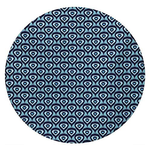 LCGGDB Ikat 3D Decorative Window Film,Bohemian Pattern Abstract Geometric Elements Soft Peacock Tail Pattern Frosted Window Glass Film for Home Office,Round 24'x24',Pale Blue Dark Blue