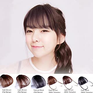 HAIQUAN Flat Bangs with Temples Dark Brown Natural Real Human Hair Flat Bangs/Fringe Hand Tied Bangs Fashion Clip-in Hair Extension