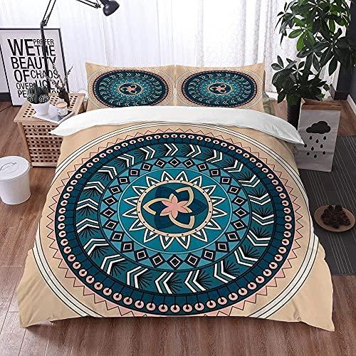 Lyyeaz Juego de ropa de cama, funda de edredón, diseño de copo de nieve, color azul