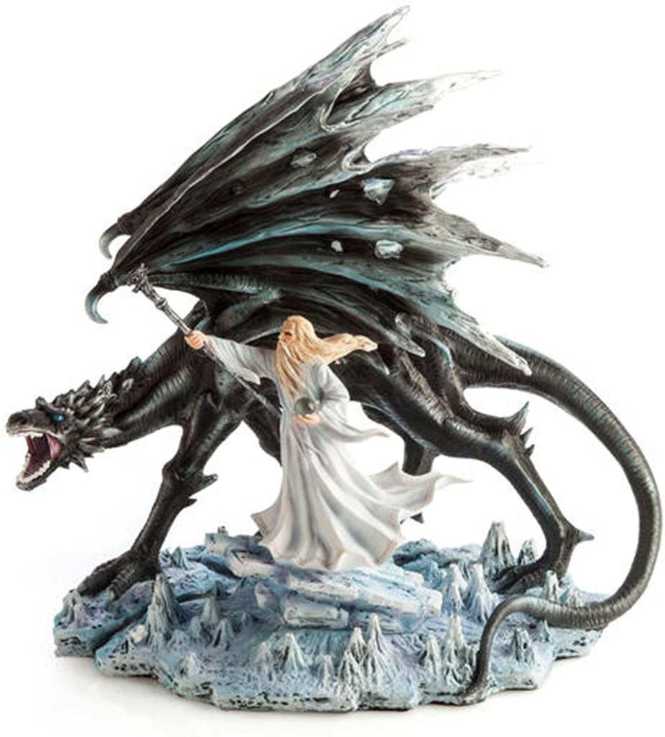 Large Black Dragon With Wizard