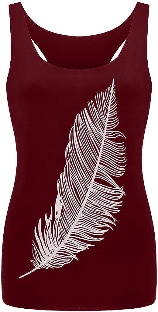 Women's Feather Print Crop Tops Long Vest Fashion Ladies Top The L-Shaped Vest