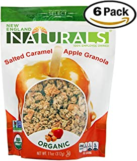 New England Naturals Gluten Free Organic Salted Caramel Apple Granola, 11 Ounce Pouch (Pack of 6)