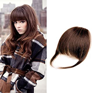 HIKYUU Hand-tied Thick Blunt Fringes Real Hair Extensions Light Brown 100% Remy Human Hair Blunt Bangs Clip on Real Hair