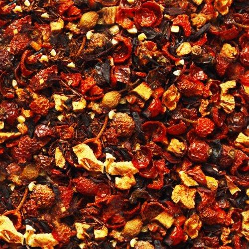 Früchtetee lose Kaminzauber ® Früchtchen Hagebutten, Hibiskus, Apfel, Rotbuschtee, Mandeln, Zimt Früchte Tee fruchtige Zimt-Note 500g