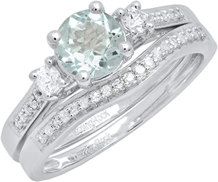 10K Gold 6 MM Round Aquamarine, White Sapphire & Diamond Ladies 3 Stone Engagement Ring Set