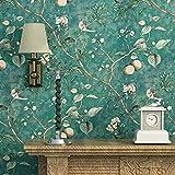 Blooming Wall - Papel pintado, diseño de flores, árboles y pájaros, estilo retro, para salones, habitaciones y cocinas, 5,3 m², color verde esmeralda