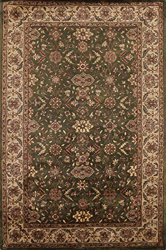 Traditional Agra Green & Ivory Floral Area Rug All-Over Pattern Wool Hand-Tufted Oriental Carpet 6x8 (5' 6'' x 8' 0'')