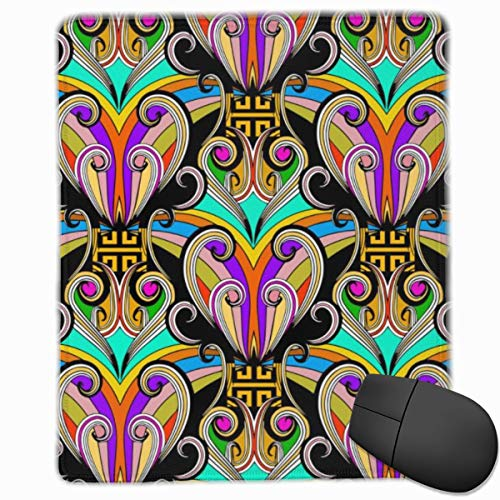 YGVDSE Rubber Mousepad Colorful Floral Ethnic Style Greek Key 18 X 22 cm Gaming Mouse Pad with Water Resistant Surface, Non Slip Rubber Base