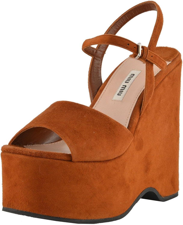 MIU MIU MIU MIU Woherrar mocka läder bspringaaa Platform Sandals skor  het försäljning online
